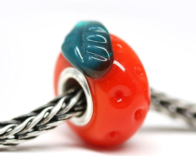 Tangerine fruit European style bracelet bead, Vegan jewelry, Red orange Handmade lampwork glass Large hole bead, European charms