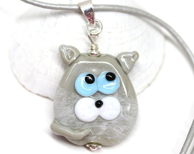 Gray cat necklace, Kitten pendant, Cat jewelry, Cute animal, Handmade lampwork glass jewelry by MayaHoney