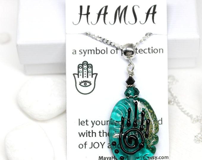 Teal green lampwork glass pendant with Healing hand symbol, Yoga jewelry, Hamsa necklace, Handmade beaded pendant Protection jewelry