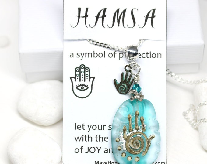 Teal Blue glass pendant, Yoga jewelry Hamsa necklace, Seaglass Handmade lampwork glass Healing hand pendant, Hand of Fatima One of a kind