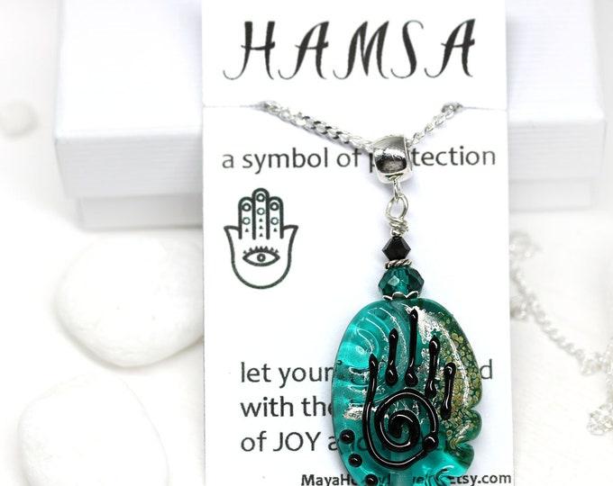 Teal Green Healing hand pendant, Yoga jewelry, Hamsa charm, Handmade lampwork glass pendant on Sterling silver, Protective Hand of Fatima