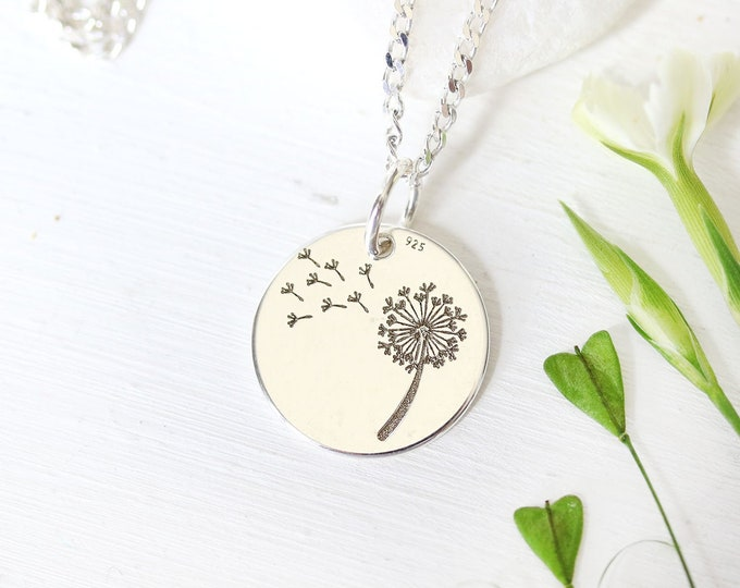 Sterling silver Dandelion necklace, Dainty feminine women jewelry for everyday, Dandelion jewelry, Wish necklace