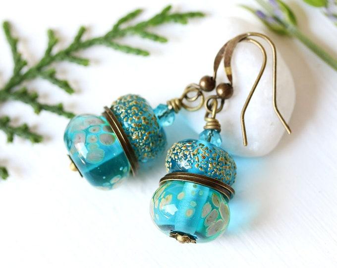 Blue lampwork glass beaded earrings, Aqua blue Handmade dangle earrings, Lampwork jewelry