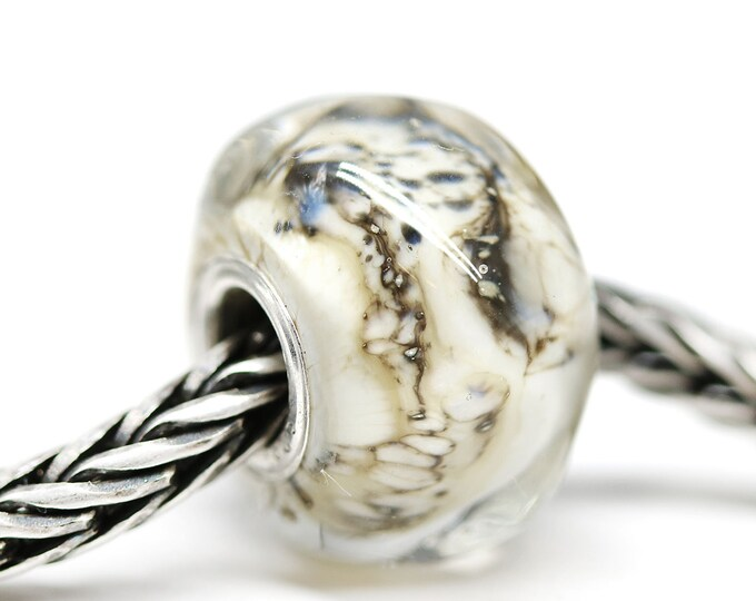 Organic nugget shape Large hole bead, Handmade lampwork glass Beige black European style bracelet charm, Big hole bead