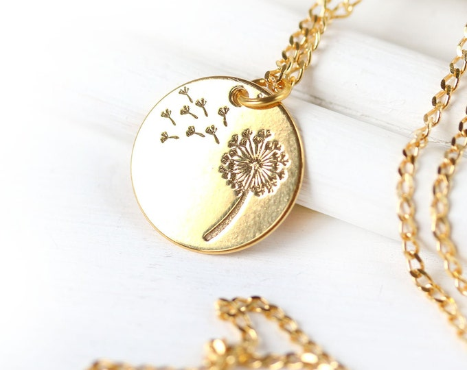 Golden dandelion necklace, Dainty feminine women jewelry, Gold dandelion flower jewelry, Wish necklace