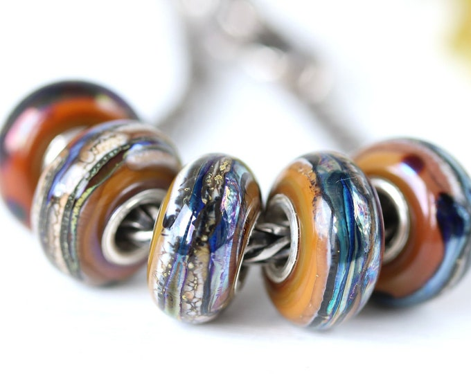 Earthy colored European bracelet bead, Brown tan green purple European style charm, Handmade lampwork Large hole bead