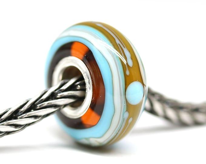 Blue yellow European bracelet bead, Handmade lampwork glass Large hole bead, European style charms