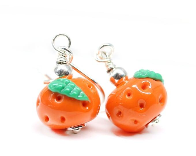 Tangerine earrings, Artisan lampwork glass orange beaded vegan earrings, Sterling silver orange fruit jewelry
