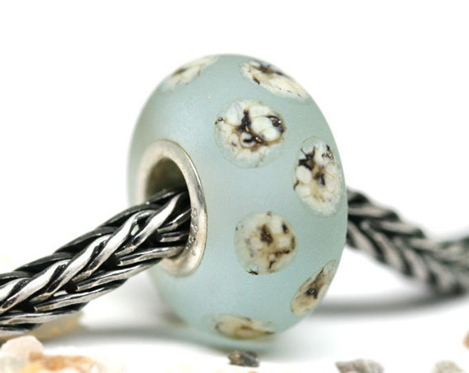 Light Blue charm bead, Sterling silver European bracelet charm, Beach Seaglass jewelry, Large hole Handmade Lampwork bead SRA by MayaHoney