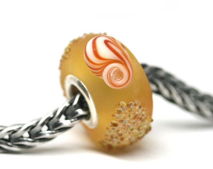 Frosted Yellow charm bead, Seashell beach jewelry, European bracelet bead, Amber honey seaglass large hole lampwork