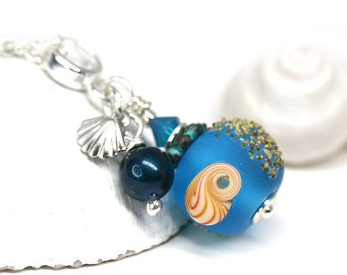 Blue beaded pendant, Sea jewelry, Bright blue seashell necklace on Sterling silver, Handmade lampwork jewelry