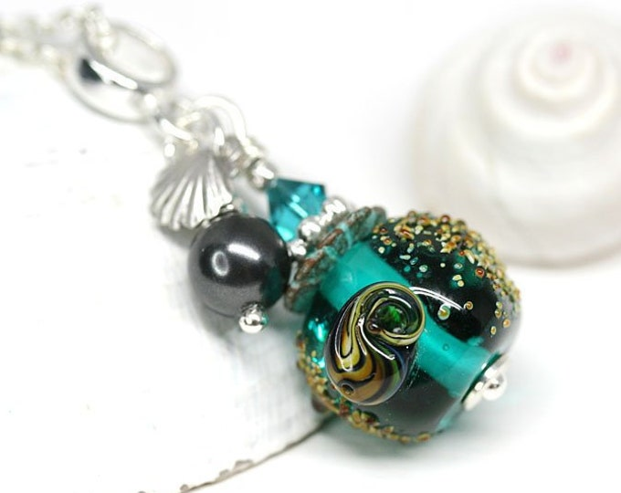 Teal green beaded necklace, Ocean jewelry, Seashell pendant on sterling silver, Handmade lampwork glass jewelry