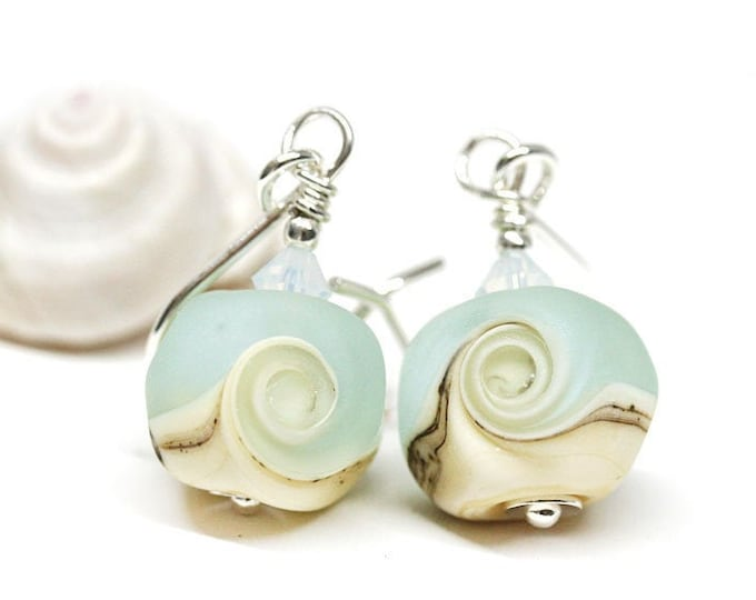 Light blue beach glass earrings, Surf wave jewelry, Sterling silver Handmade lampwork earrings