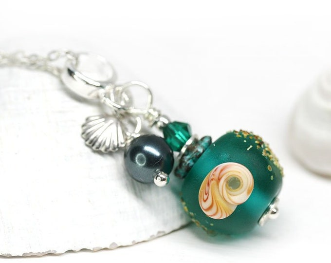 Teal green seashell necklace, Handmade lampwork glass beaded jewelry, Beach pendant