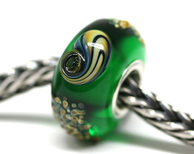 Dark green charm bead, Seashell jewelry, Emerald green European bracelet bead, Large hole Handmade Lampwork BHB
