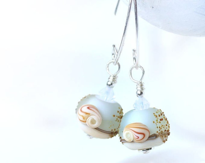 Pale blue long sea inspired earrings, Seashell jewelry, Handmade lampwork seaglass blue beaded beach earrings