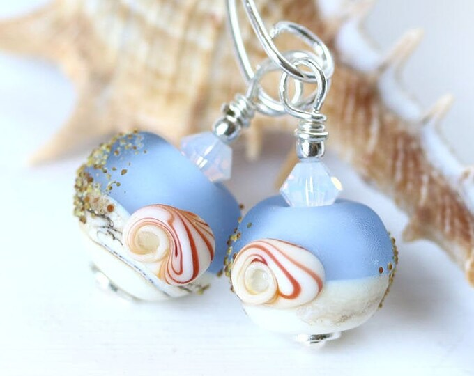 Frosted blue long earrings with shells, Sea inspired jewelry, Handmade lampwork Sterling silver beaded earrings, seaglass jewelry
