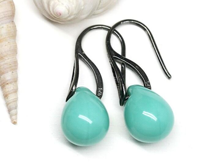 Turquoise drop earrings, Black ear wires, Green Briolette teardrop earrings, Czech bead jewelry