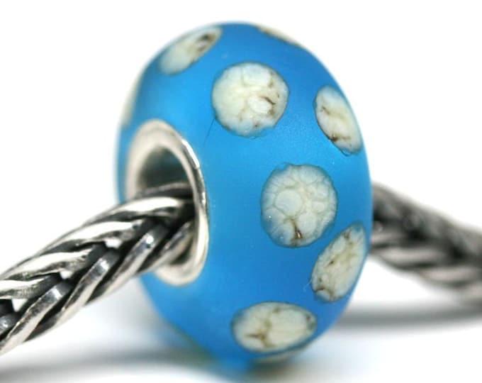 Seaglass blue European style charm bead with dots, European bracelet jewelry, Large hole Lampwork bead