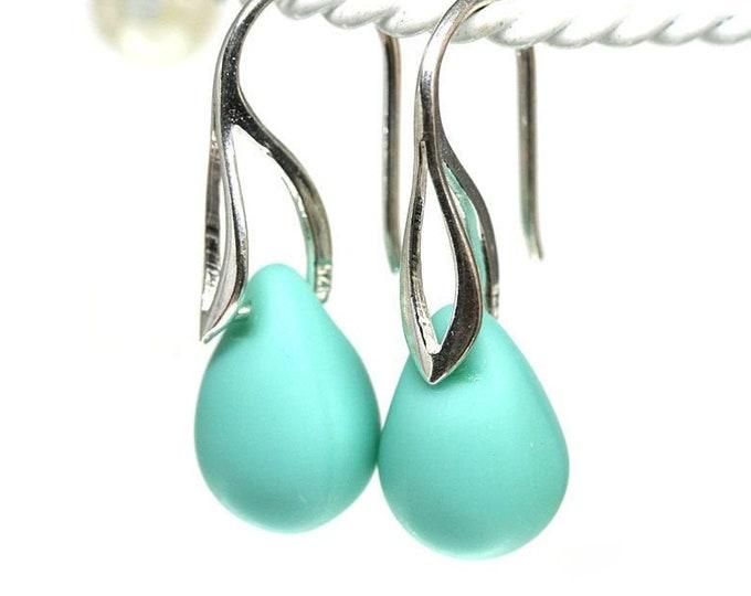 Light turquoise drop earrings, Mint green jewelry, Glass briolette dangle earrings on Sterling silver ear wires