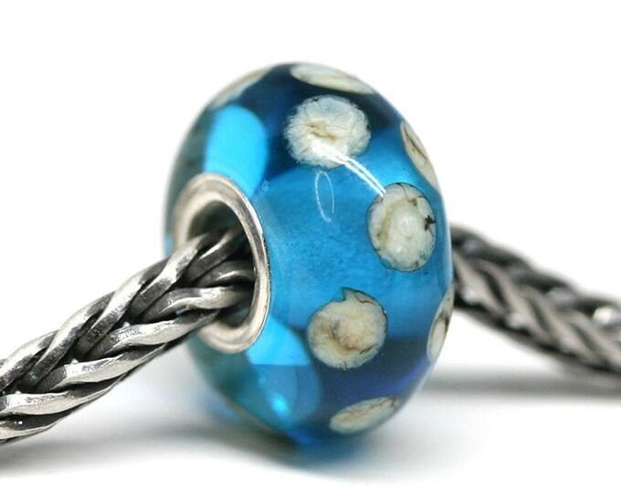 Blue large hole bead, European style bracelet charm, Sea inspired blue jewelry, Handmade Lampwork big hole bead
