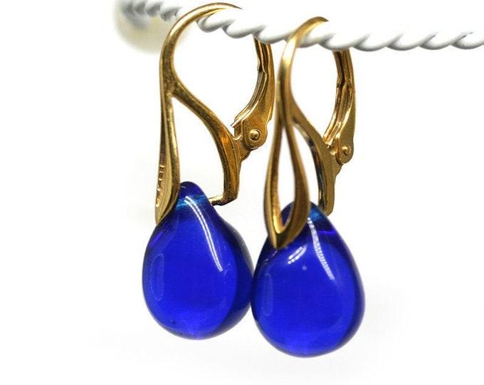 Cobalt Blue leverback earrings, Golden hooks, Dark blue drop earrings for women