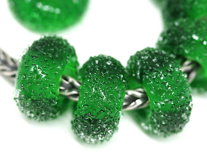 1pc Christmas green glass bracelet bead, European style charm, Handmade lampwork Large hole sugar bead