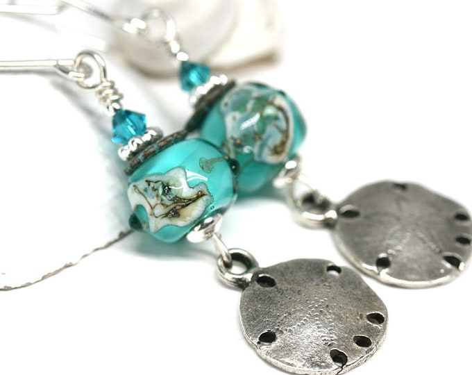 Sand dollar earrings, Teal green ocean Jewelry, Beach lover gift, Artisan lampwork beaded jewelry, Sterling silver dangle earrings MayaHoney