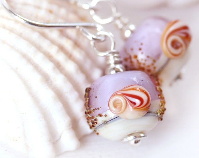 Purple pink seashell earrings, Light purple handmade lampwork Sterling silver sea inspired jewelry, Shell lover gift