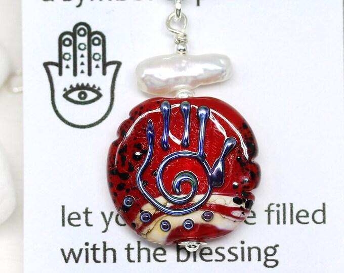 Red beaded pendant, Yoga jewelry, Healing hand Hamsa, Hand of Fatima protection necklace, Handmade lampwork glass, Yoga friend gift