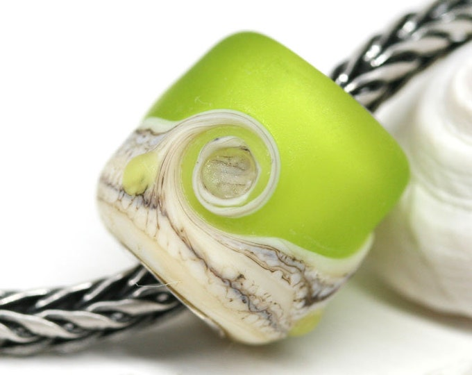 Seaglass green Big hole bead, Matte glass European charm, Lime green Artisan lampwork Large hole tube bead, Beach jewelry