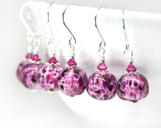 Purple pink earrings, Artisan lampwork jewelry, Fuchsia pink dangle earrings, Sterling silver women jewelry