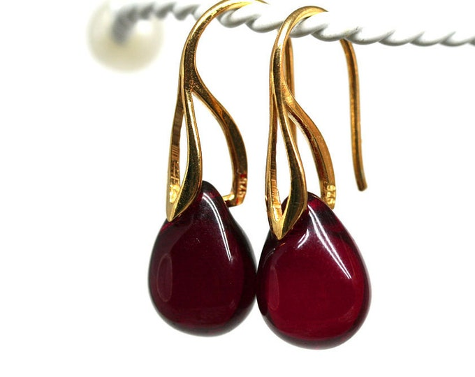 Dark Red drop earrings, Red and Gold dangle earrings, Women jewelry gift by MayaHoney