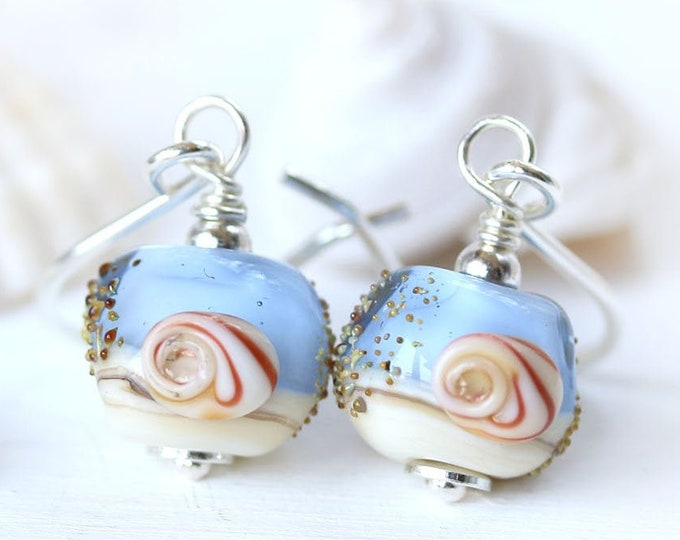 Blue lampwork earrings, Seashell jewelry, Handmade sterling silver sea inspired shell earrings, beach lover gift