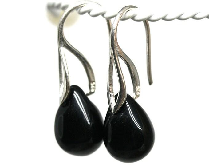 Black drop earrings, Everyday casual women earrings, Sterling silver Glass teardrop dangle earrings
