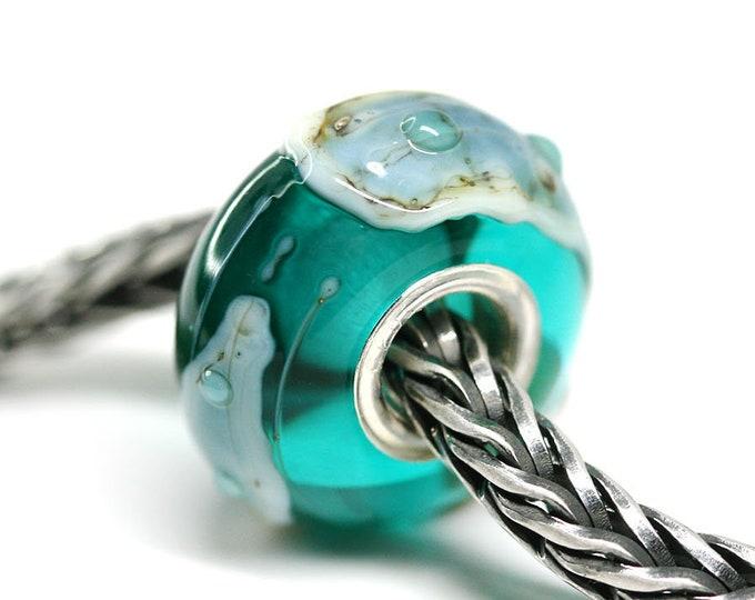 Ocean jewelry Big hole bead, Teal green European bracelet charm, Large hole charm bead, Artisan Lampwork SRA by MayaHoney