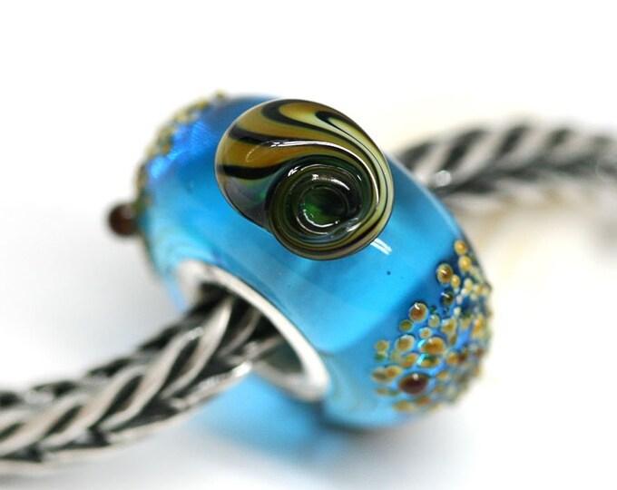 Big hole European style blue charm bead, Seashell sea inspired jewelry, European bracelet Large hole bead with shells