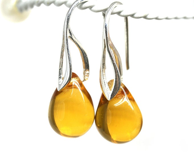 Amber yellow Sterling silver dangle drop earrings, Yellow jewelry, Teardrop briolette women earrings by MayaHoney