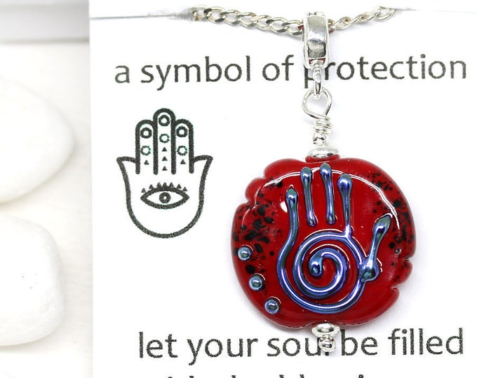 Red glass Healing hand Hamsa pendant, Yoga jewelry, Hand of Fatima protection necklace, Yoga friend gift