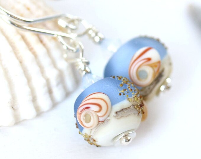 Frosted blue seashell earrings, Sea inspired jewelry, Handmade lampwork beaded earrings, Sterling silver beach jewelry