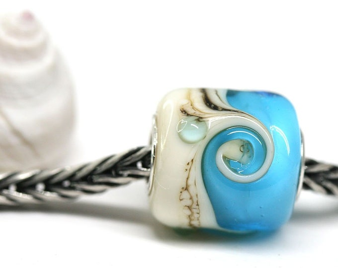 Blue glass European charm, Artisan lampwork Spiral bead, Beach jewelry Glass large hole bead, Coastal style