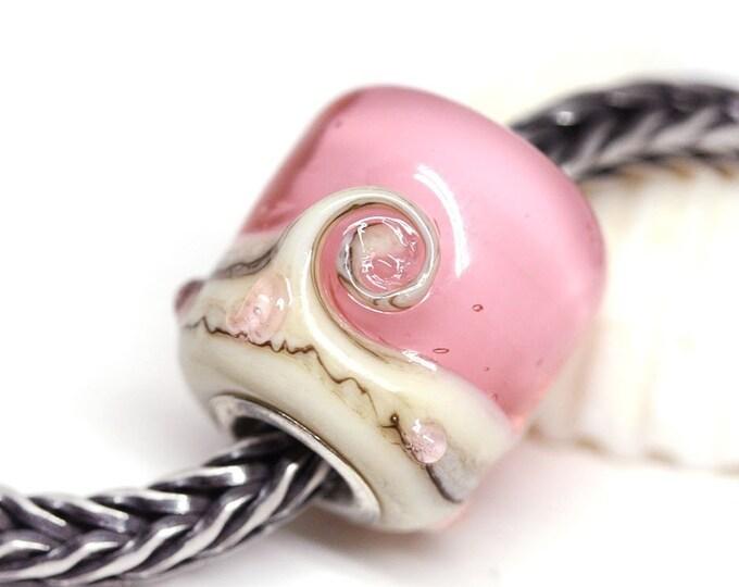 European style bracelet Pink charm bead, Sakura pink Artisan lampwork big hole tube bead