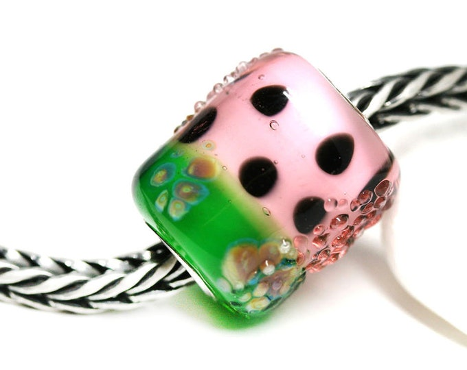 Watermelon fruit jewelry, European style Pink green charm bracelet bead, Artisan lampwork glass Large hole tube bead