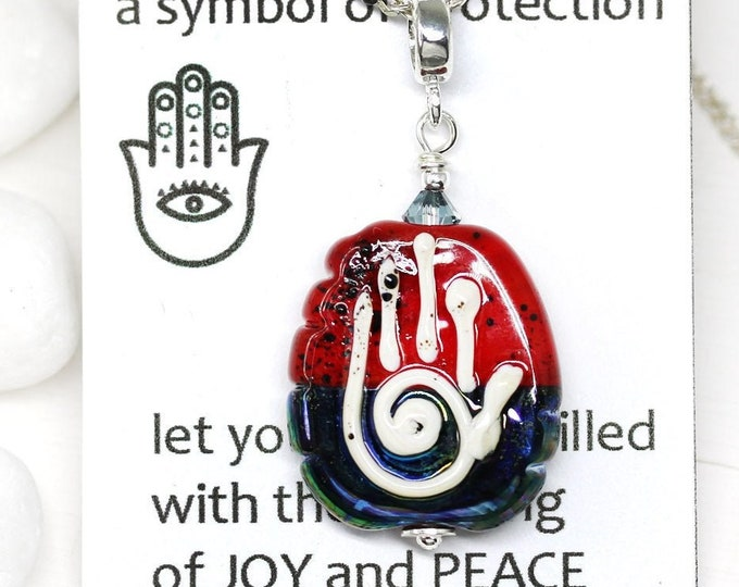 Dark red yoga pendant, Yoga jewelry, Red and Blue Healing hand Hamsa, Hand of Fatima protection necklace