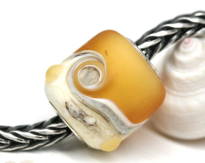 Amber yellow bracelet bead, Seaglass Big hole bead, European charm, Artisan lampwork beach jewelry