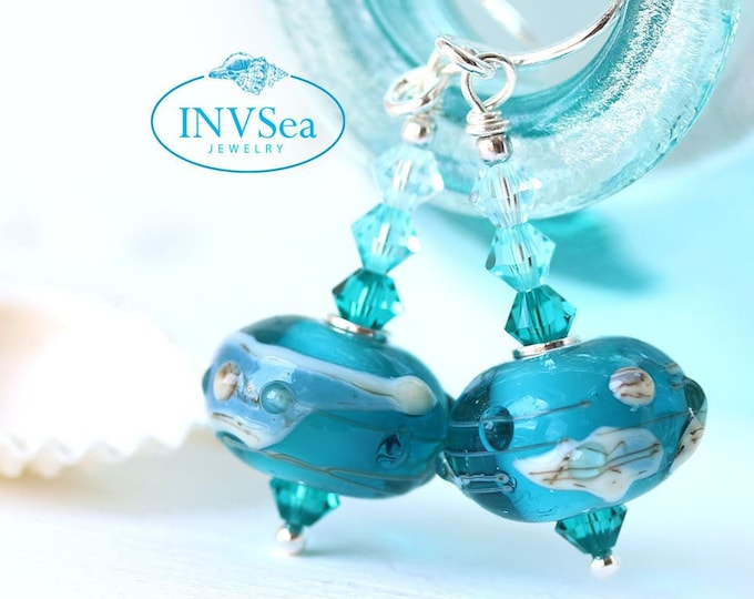 Teal beaded earrings, Ocean teal jewelry, Handmade lampwork glass sterling silver dangle earrings