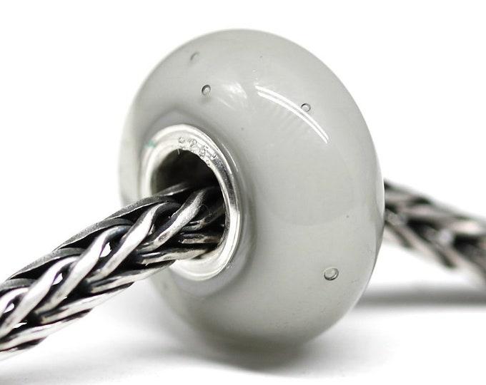 Light gray European bracelet charm, Handmade lampwork glass Large hole bead, Gray silver European style bead