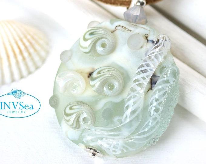 Pale blue seashell pendant, Marine life coastal jewelry, One of a kind handmade lampwork glass bead necklace