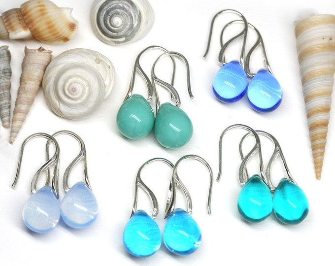 Blue teardrop earrings, Glass drop Sterling silver briolette earrings, Beach Coastal jewelry by MayaHoney