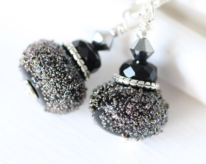 Sparkling black glass beaded earrings, Handmade lampwork black jewelry, Sterling silver dangle earrings